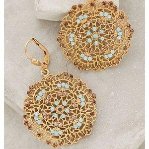 New Anthropologie Gold Filigree Circlet Earrings